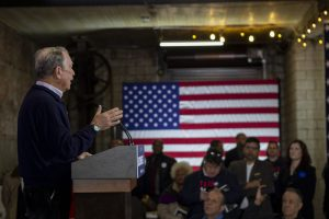 BLOOMBERG SPEAKS TO SUPPORTERS IN EASTERN MARKET. PHOTO JOHN BOZICK
