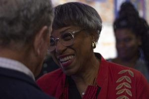 CONGRESSWOMAN BRENDA LAWRENCE SPEAKS WITH BLOOMBERG. PHOTO JOHN BOZICK