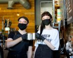 EMPLOYEES, PETER GUY AND ALLISSA, AT GREAT LAKES COFFEE ROASTING CO.