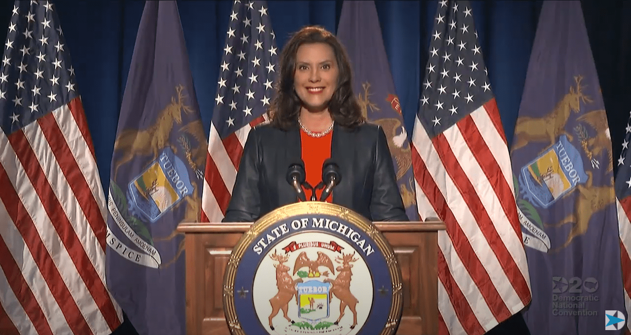 GOVERNOR GRETCHEN WHITMER SPEAKING IN LANSING. AS PART OF THE 2020 DEMOCRATIC NATIONAL CONVENTION.