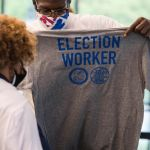 DETROIT PISTONS ELECTION WORKER'S. PHOTO CHRIS SCHWEGLER/DETROIT PISTONS
