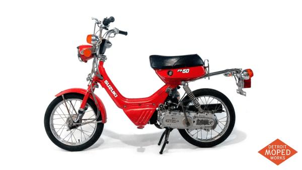 1985 Suzuki Shuttle FA50 red kickstart noped Detroit Moped Works 1240 01