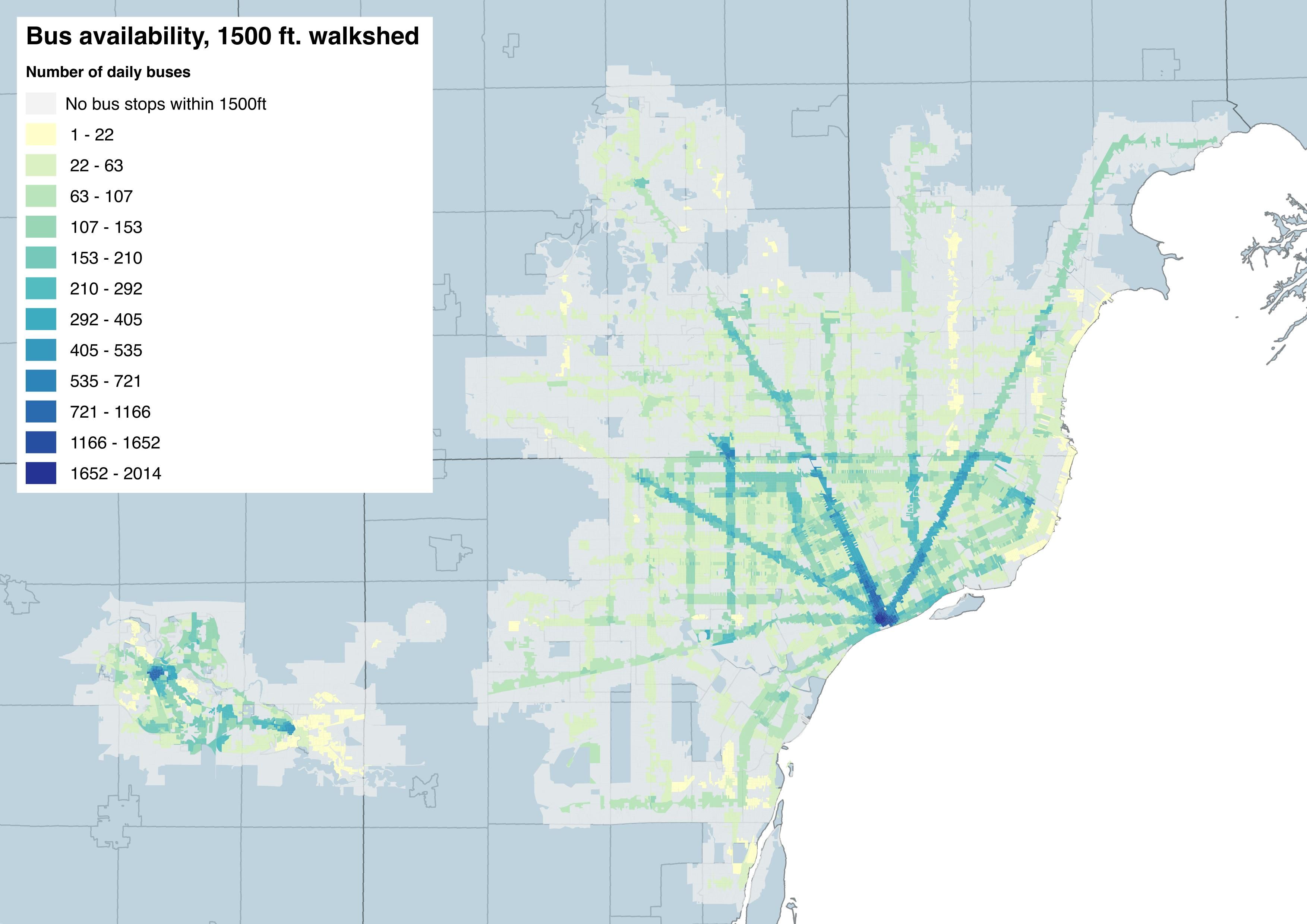 Map  Detroit Bus Availability and Walkability   DETROITography det bus accessibility