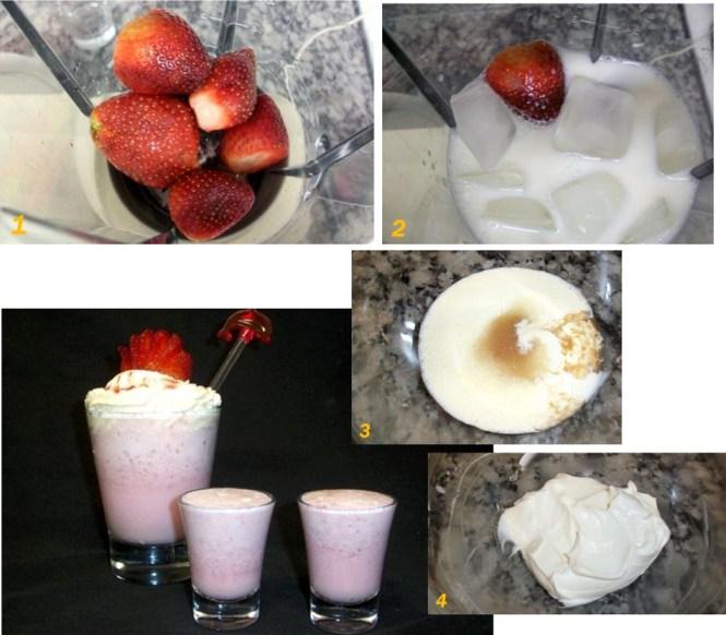 Un rica bebida para verano, con fresas y leche.