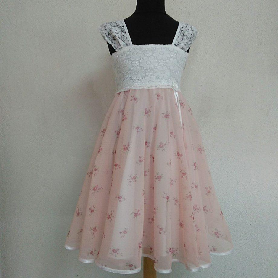 детска официална рокля с дантела в розово