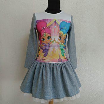 детска ежедневна рокля с искрица и сияйница с дълъг ръкав
