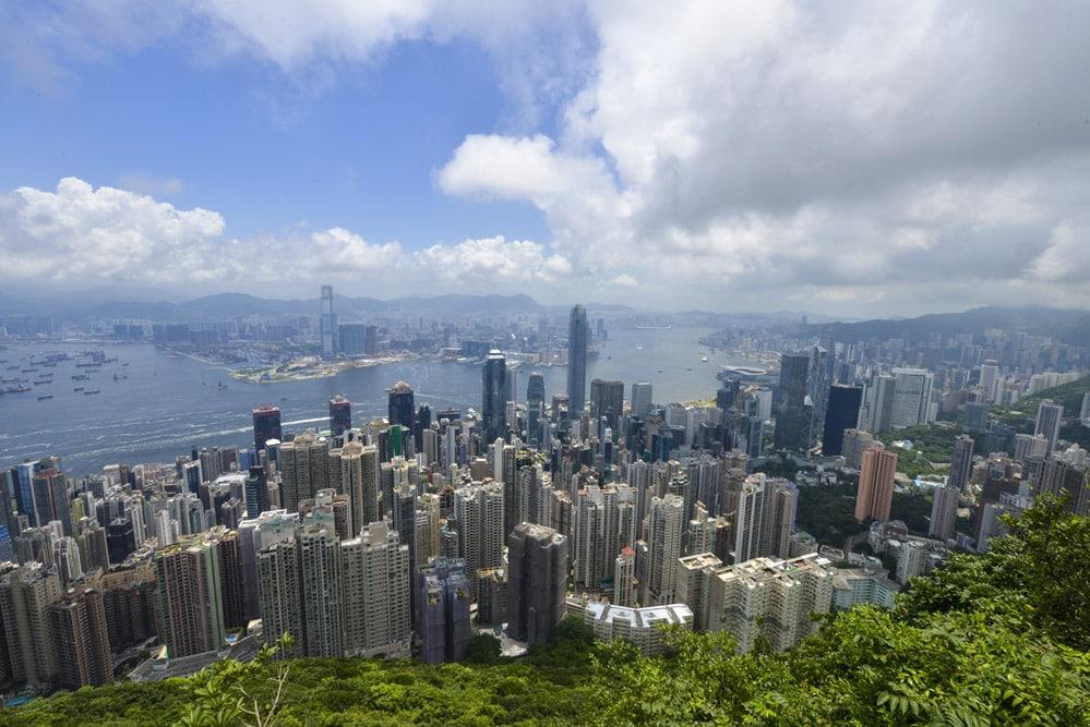 Utsikt fra Victoria Peak, The Peak, i Hong Kong