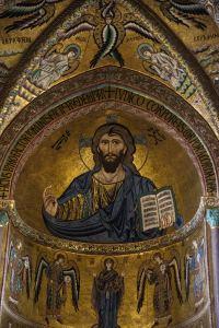 mosaikk i Cefalù, kunst på Sicilia, Kristus, duomo di Cefalù, katedralen i Cefalù, kirkekunst