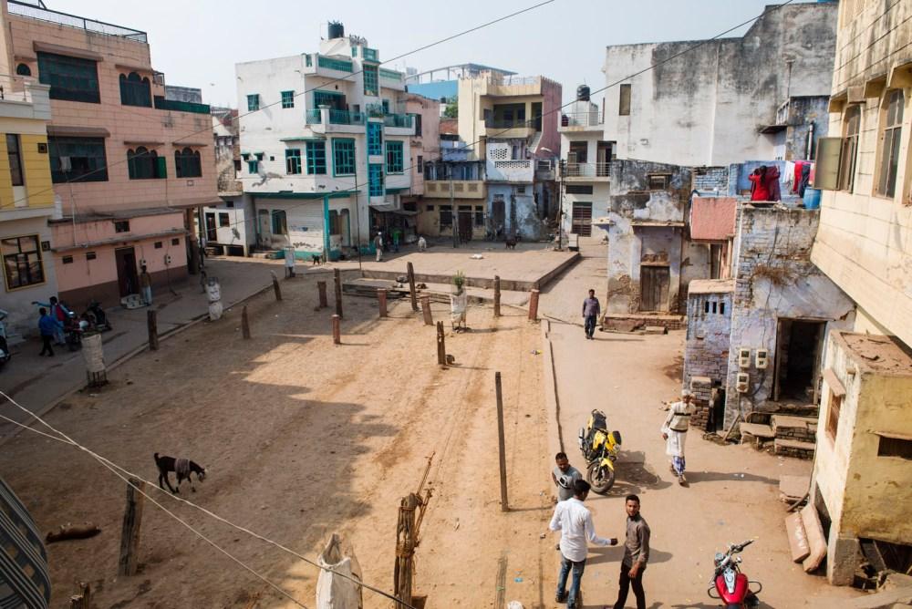 Agra, Wazipura, åpen plass, India, indisk by