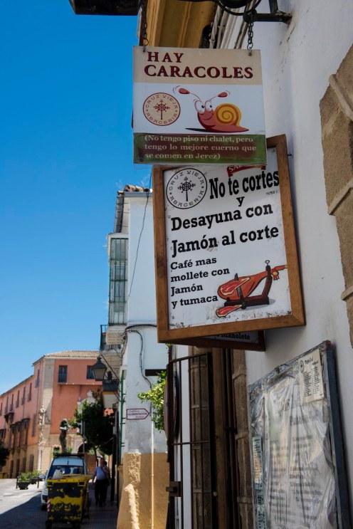 restaurantskilt i Jerez de la Frontera