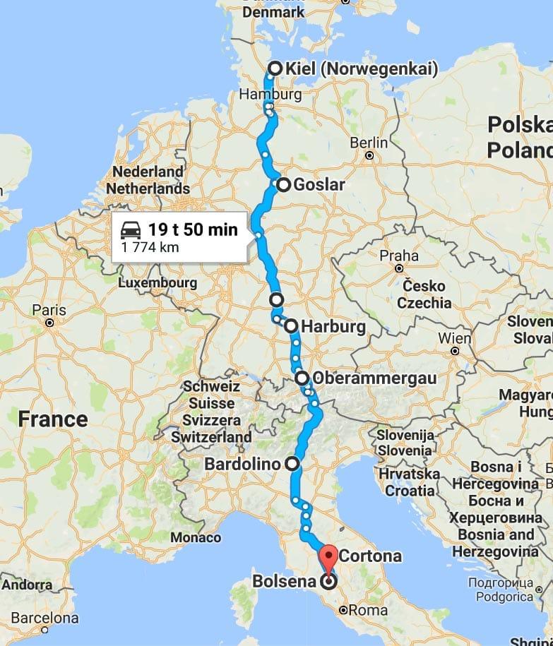 Kjørerute Norge til Italia