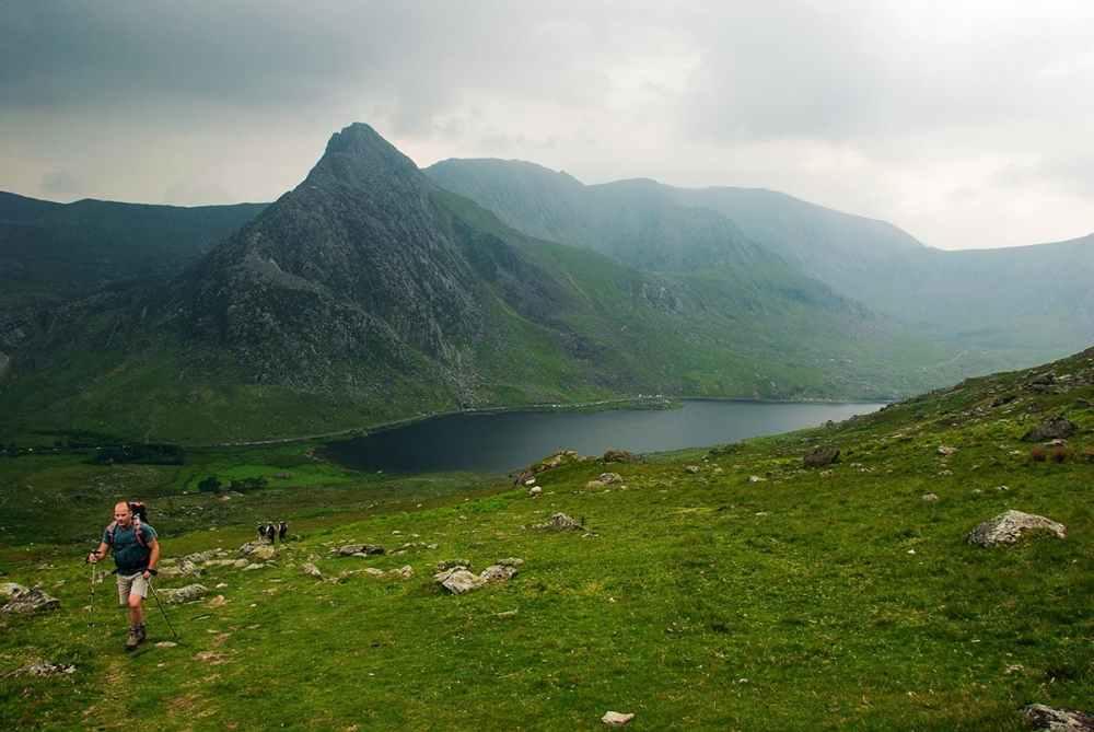 Tryfan og Snowdonia-natur i regnvær