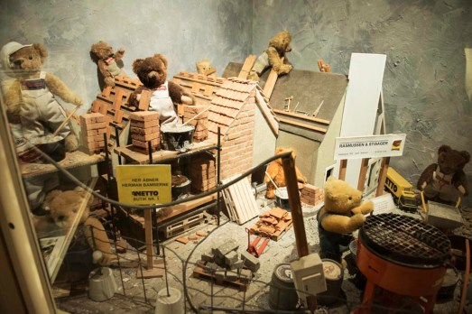 Modell av byggeplass i Skagen bamsemuseum