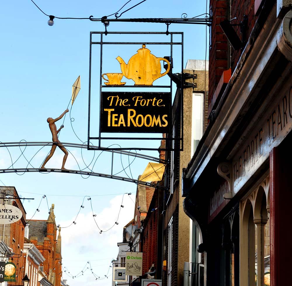 Et tehus i High Street i Winchester