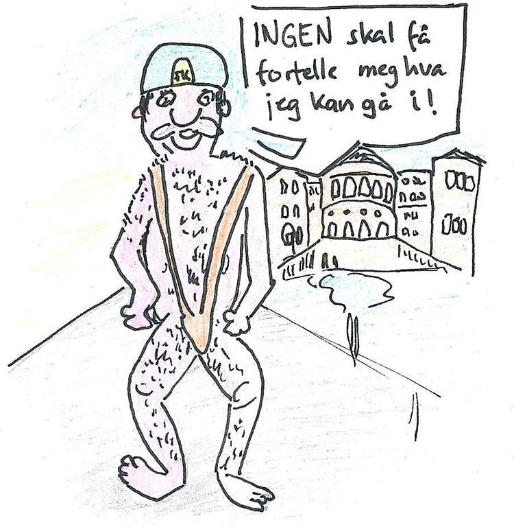 tegneserietegning av mann i Borat-drakt på Karl Johan