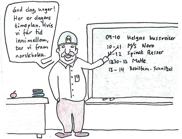 Tegneserietegning om lærer hvor elevene skal ha turister på besøk