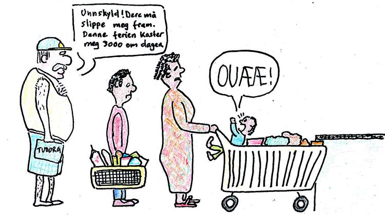 tegneserietegning av turist i supermarked