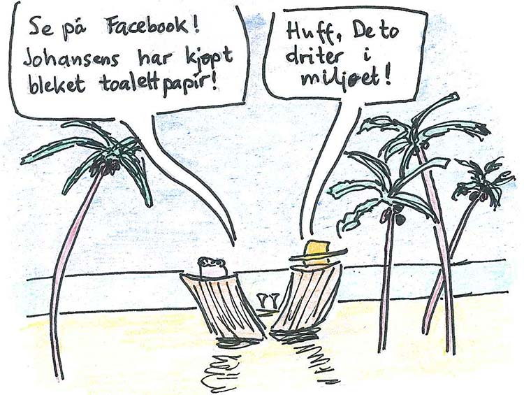 Vitsetegning om ansvarlig turisme på tropisk strand