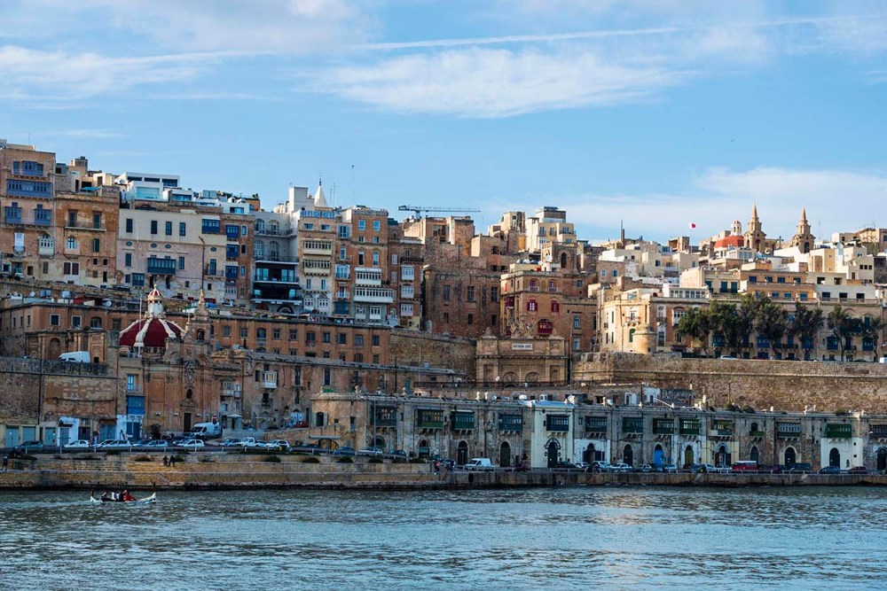 Valletta sett fra ferga fra 3 cities