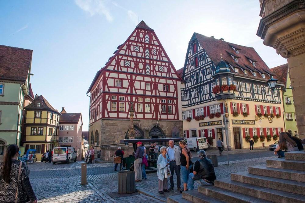 Hus ved Marktplatz i Rothenburg