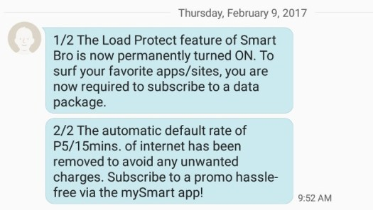 Smart Bro advisory about the Load Protect feature