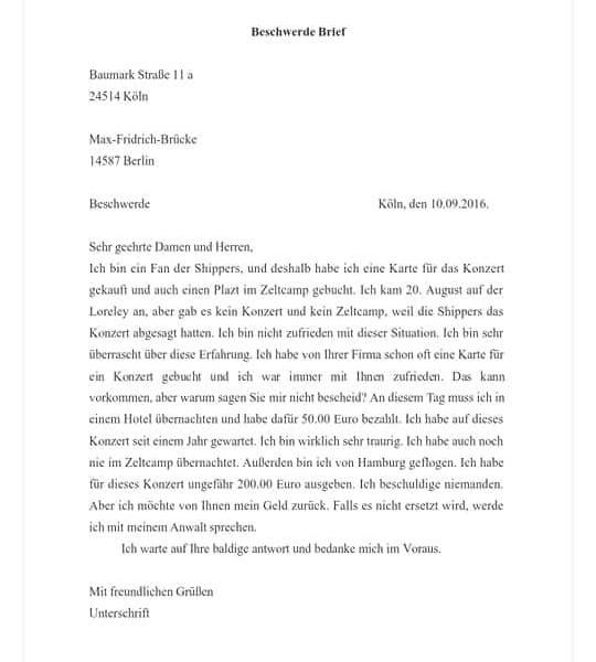 Beschwerde Brief Deutsch Viel Spass