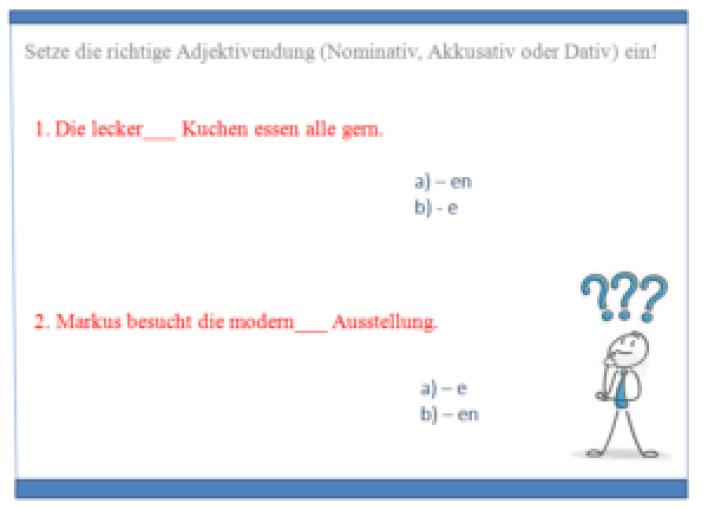 2swdž 300x216 - Setze die richtige Adjektivendung (Nominativ, Akkusativ oder Dativ) ein!  (1)