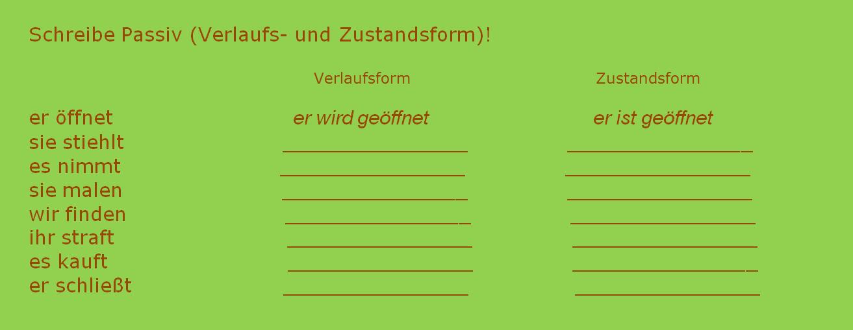 hcgvjhkbjln - Schreibe Passiv (Verlaufs- und Zustandsform)!
