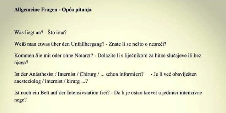 Allgemeine Fragen (Opća pitanja)