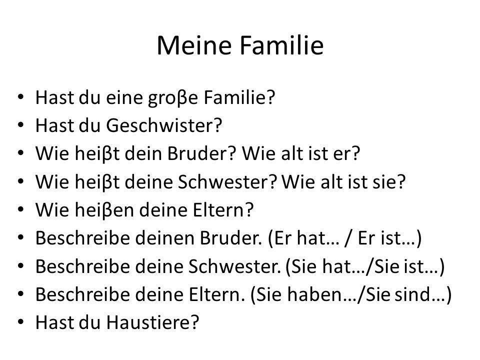 Meine Familie (Antworten Sie )
