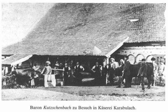 Baron Kutzschenbach zu Besuch in Käserei Karabulach.