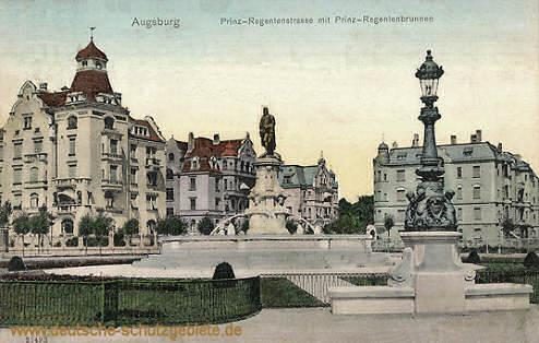 Augsburg, Prinz-Regentenstraße mit Prinz-Regentendenkmal