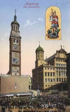 Augsburg, Turamichele (Perlachturm und Rathaus)