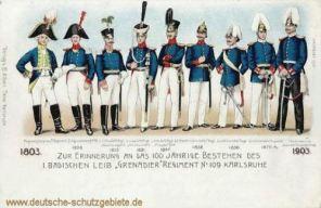 """1. Badisches Leib """"Grenadier"""" Regiment No. 109 Karlsruhe"""