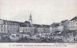 Berlin, Spittelmarkt mit Gertraudten-Kirche um das Jahr 1783