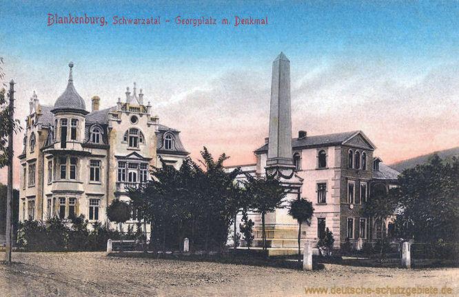 Blankenburg, Schwarzatal, Georgplatz mit Denkmal