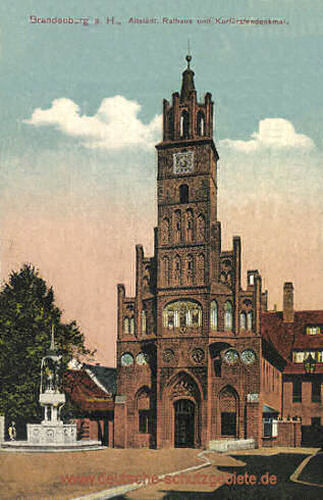 Brandenburg, Altstädt. Rathaus und Kurfürstendenkmal