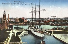 Bremerhaven, Schulschiff des Norddeutschen Lloyd geht in See