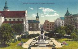 Brünn, Lazansky-Platz mit Kaiser Josef-Denkmal