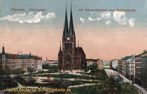 Chemnitz, Körnerplatz mit Körnerdenkmal und Markuskirche