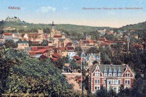 Coburg, Panorama von Coburg von den Plattenäckern