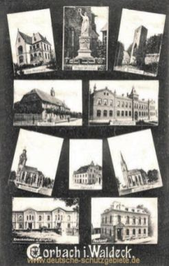 Corbach, Kriegerdenkmal, Rathaus, St. Kiliankirche, Post