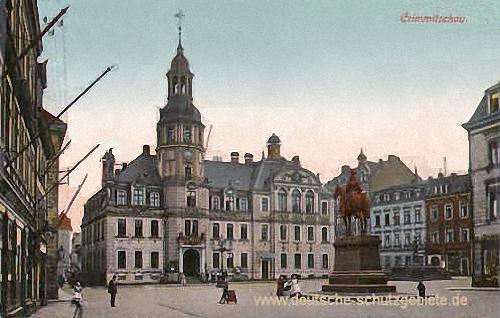 Crimmitschau, Rathaus mit König-Albert-Denkmal