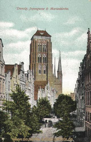 Danzig, Jopengasse und Marienkirche
