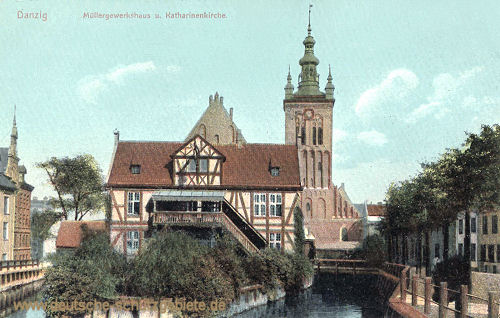 Danzig, Müllergewerkhaus und Katharinenkirche