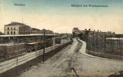 Dirschau, Bahnhof mit Weichselbrücke