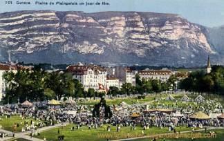 Genève, Plaine de Plainpalais un jour de fete
