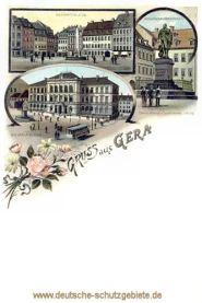Gruß aus Gera, Marktplatz, Gymnasium, Posthumus-Denkmal
