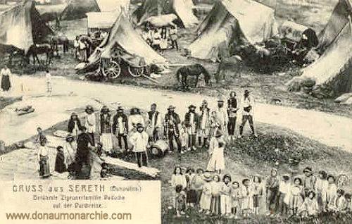 Gruß aus Sereth (Bukowina) Berühmte Zigeunerfamilie Daducha auf der Durchreise