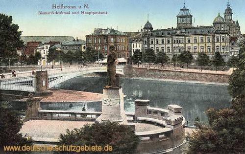 Heilbronn a. N., Bismarckdenkmal und Hauptpostamt